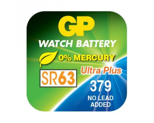 Часовая серебряно-цинковая батарейка GP 379-U1, AG0, SR63, SR521SW, 1.55V