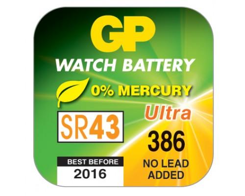Часовая серебряно-цинковая батарейка GP 386-U1, AG12, SR43, SR43W, 1.55V