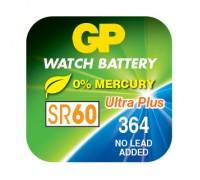 Часовая серебряно-цинковая батарейка GP 364-U1, AG1, SR60, SR621SW, 1.55V