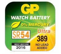 Часовая серебряно-цинковая батарейка GP 389-U1, AG10, SR54, S1130W, 1.55V Специализированные батарейки  GP Batteries