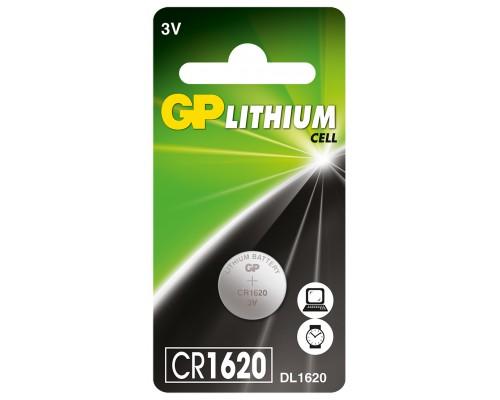Литиевая батарейка GP CR1620-U1, 3V