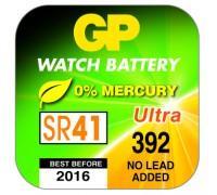 Часовая серебряно-цинковая батарейка GP 392-U1, AG3, SR41, SR41W, 1.55V