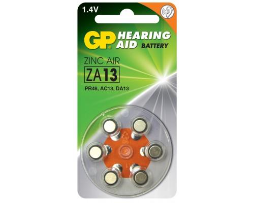 Батарейка для слуховых аппаратов GP ZA13-D6, PR48, DA13X, 1.45V